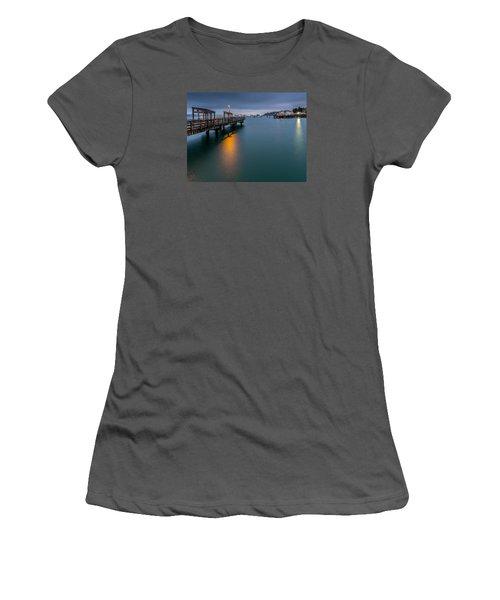 Less Davis Pier Commencement Bay Women's T-Shirt (Junior Cut) by Rob Green