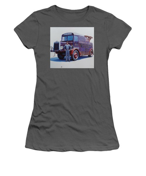 Women's T-Shirt (Junior Cut) featuring the painting Leyland Wrecker 1930. by Mike  Jeffries