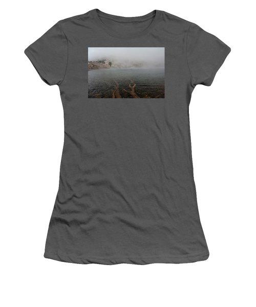 Liberty Lake In Fog Women's T-Shirt (Junior Cut) by Jenessa Rahn
