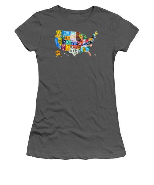 License Plate Map Of The United States Women's T-Shirt (Athletic Fit)