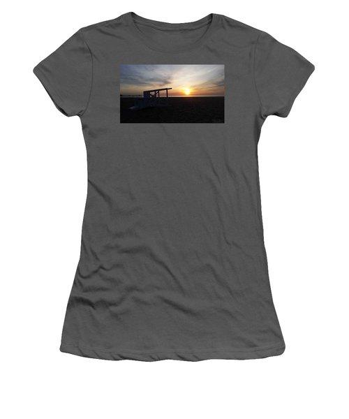 Lifeguard Stand And Sunrise Women's T-Shirt (Junior Cut) by Robert Banach