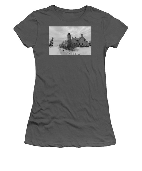 Women's T-Shirt (Junior Cut) featuring the photograph Lighthouse And Mackinac Bridge Winter Black And White  by John McGraw