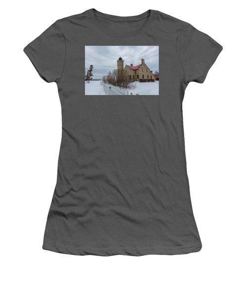 Women's T-Shirt (Junior Cut) featuring the photograph Lighthouse And Mackinac Bridge Winter by John McGraw