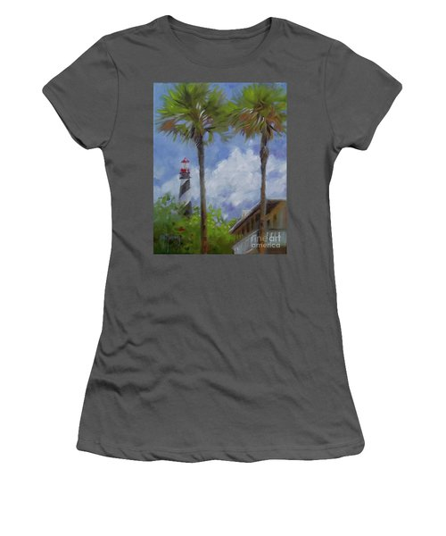Lighthouse And Palms Women's T-Shirt (Junior Cut) by Mary Hubley