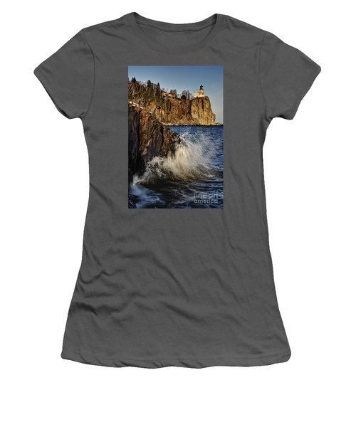 Women's T-Shirt (Junior Cut) featuring the photograph Lighthouse And Spray by Larry Ricker