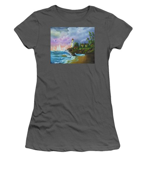 Lighthouse By The Village Women's T-Shirt (Athletic Fit)