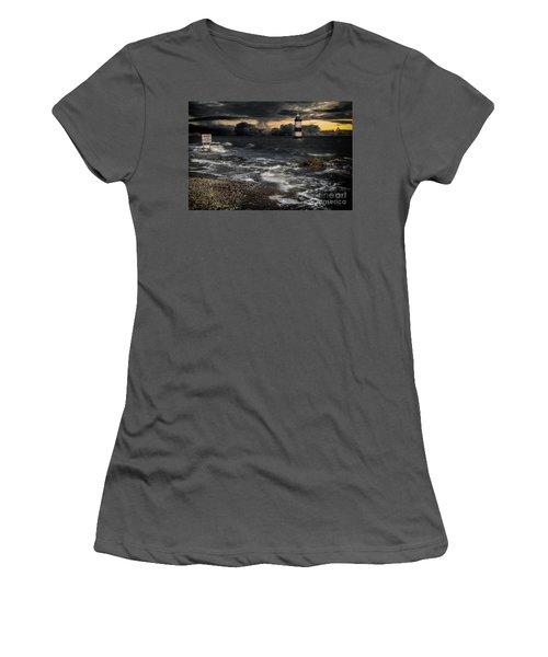 Lighthouse Storm Women's T-Shirt (Athletic Fit)