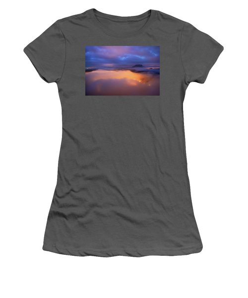 Lilienstein Night View, Saxon Switzerland, Germany Women's T-Shirt (Athletic Fit)