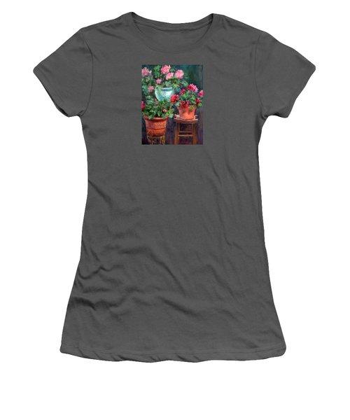 Lil's Geraniums Women's T-Shirt (Junior Cut) by Jill Musser