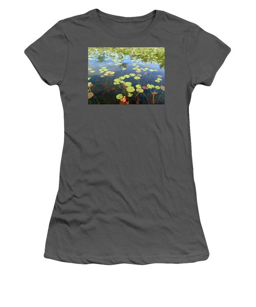 Lily Pads And Reflections Women's T-Shirt (Junior Cut) by Susan Lafleur