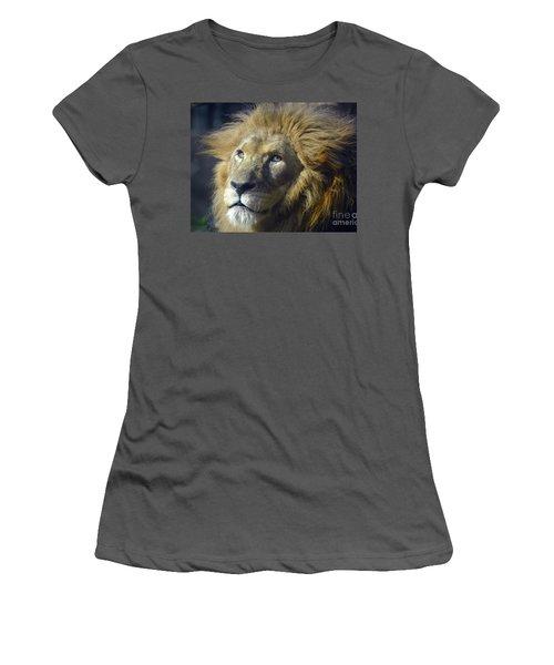 Women's T-Shirt (Junior Cut) featuring the photograph Lion Portrait by Savannah Gibbs