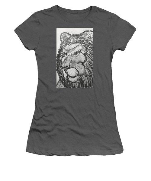 Lion Sketch  Women's T-Shirt (Junior Cut) by Yshua The Painter
