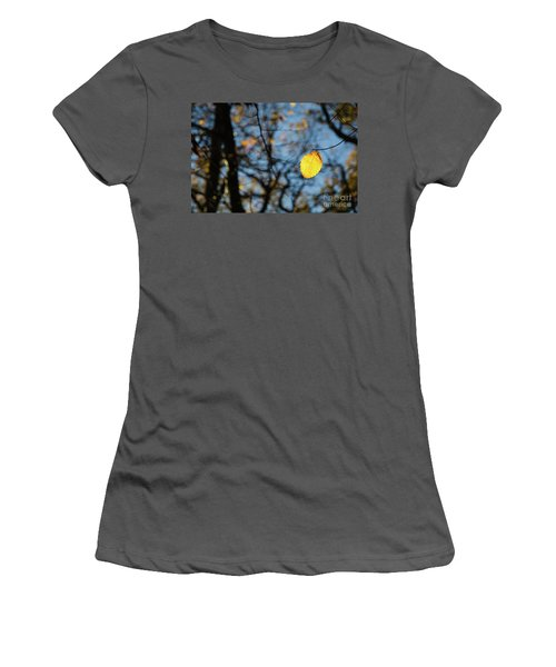Women's T-Shirt (Athletic Fit) featuring the photograph Lit Lone Leaf by Kennerth and Birgitta Kullman