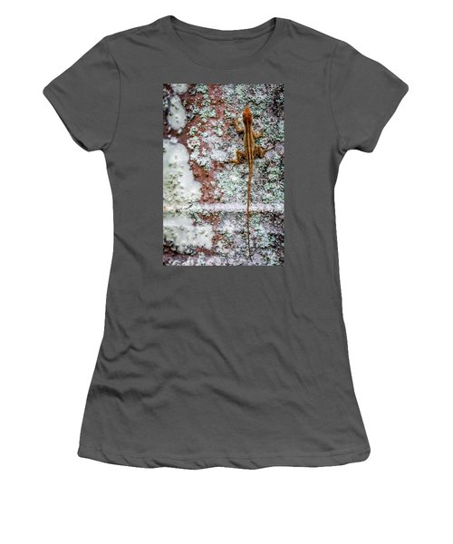 Lizard And Lichen On Brick Women's T-Shirt (Athletic Fit)