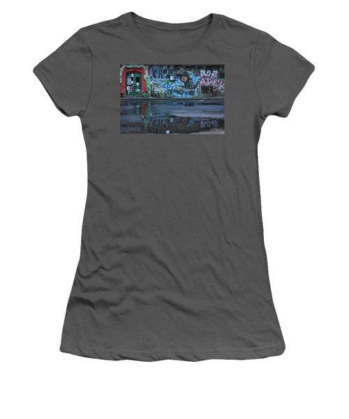 Women's T-Shirt (Athletic Fit) featuring the photograph Ljubljana Graffiti Reflections #3 - Slovenia by Stuart Litoff