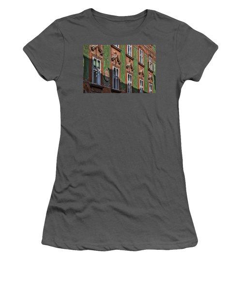 Women's T-Shirt (Athletic Fit) featuring the photograph Ljubljana Windows #2 - Slovenia by Stuart Litoff