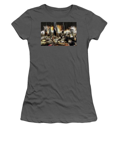 Women's T-Shirt (Junior Cut) featuring the painting London Skyline by Kai Saarto