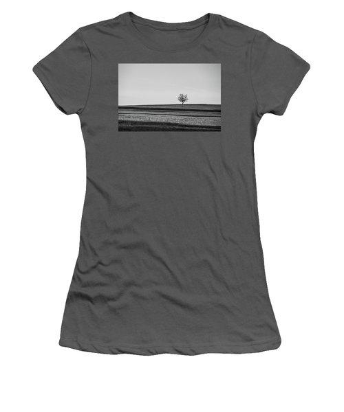 Lone Hawthorn Tree Iv Women's T-Shirt (Junior Cut) by Helen Northcott