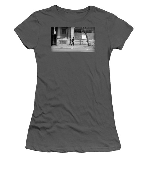 Women's T-Shirt (Junior Cut) featuring the photograph Lonely Urban Walk by Valentino Visentini