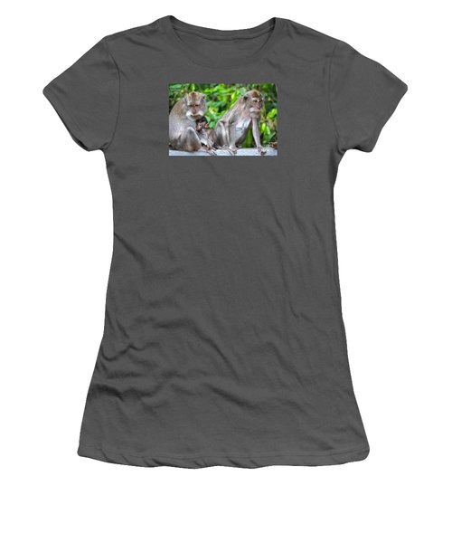 Long Tailed Macaques Women's T-Shirt (Junior Cut) by Cassandra Buckley