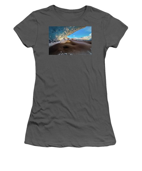 Women's T-Shirt (Junior Cut) featuring the photograph Look Out From Glacier Cave by Allen Biedrzycki