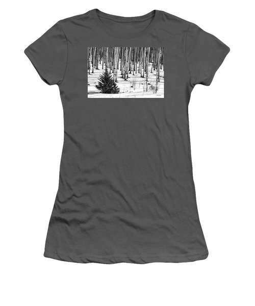 Looking Through The Aspen Black And White Women's T-Shirt (Athletic Fit)