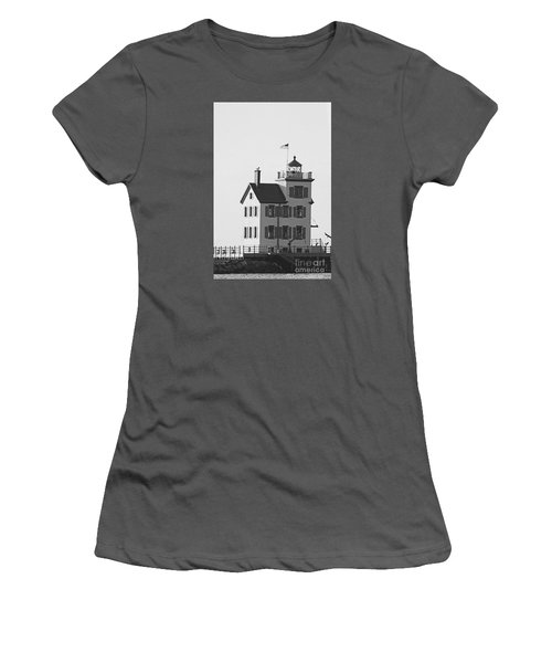 Lorain Lighthouse In Black And White Women's T-Shirt (Athletic Fit)
