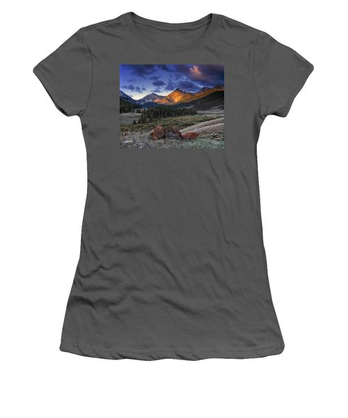 Women's T-Shirt (Junior Cut) featuring the photograph Lost River Mountains Moon by Leland D Howard