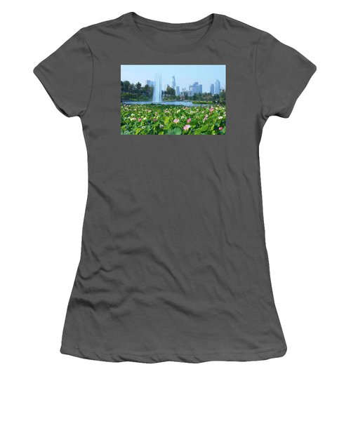 Lotus Blooms And Los Angeles Skyline Women's T-Shirt (Athletic Fit)