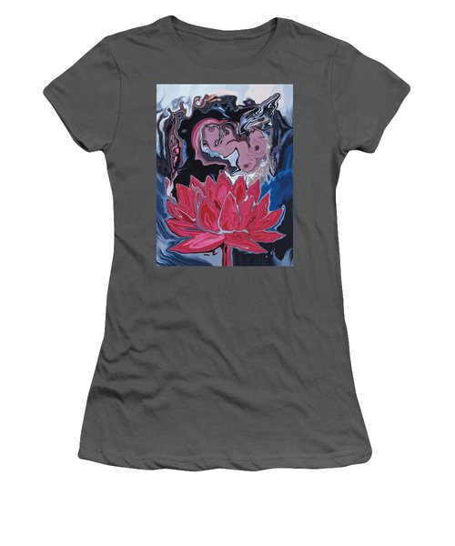 Women's T-Shirt (Junior Cut) featuring the digital art Lotus Love by Rabi Khan