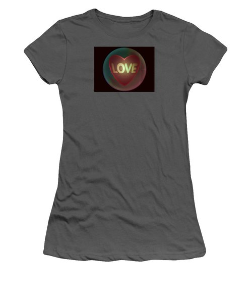 Love Heart Inside A Bakelite Round Package Women's T-Shirt (Junior Cut) by Ernst Dittmar