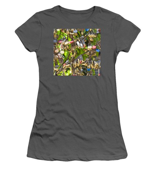 Women's T-Shirt (Junior Cut) featuring the photograph Love Locks Square by Chris Dutton