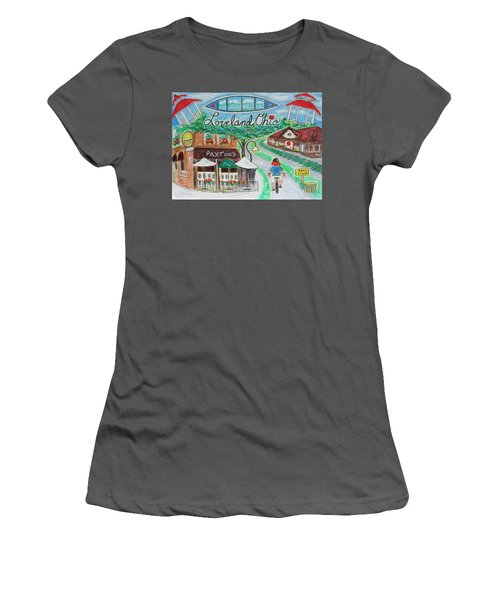 Women's T-Shirt (Junior Cut) featuring the painting Loveland Ohio by Diane Pape