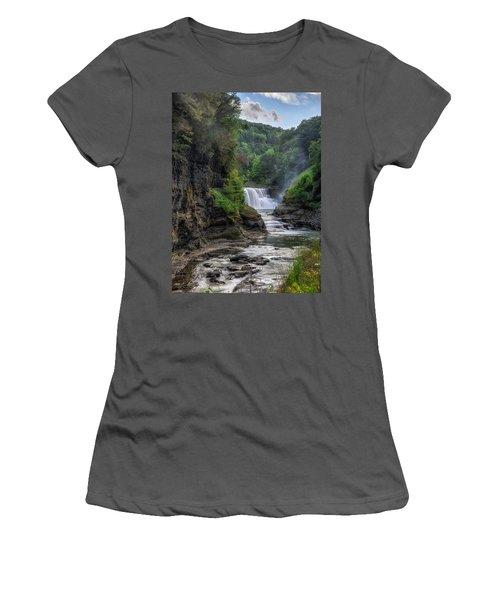 Women's T-Shirt (Junior Cut) featuring the photograph Lower Falls - Summer by Mark Papke