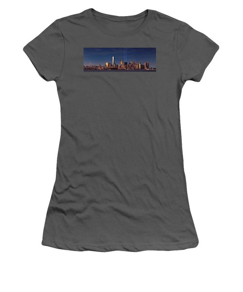 Women's T-Shirt (Junior Cut) featuring the photograph Lower Manhattantribute In Light by Emmanuel Panagiotakis