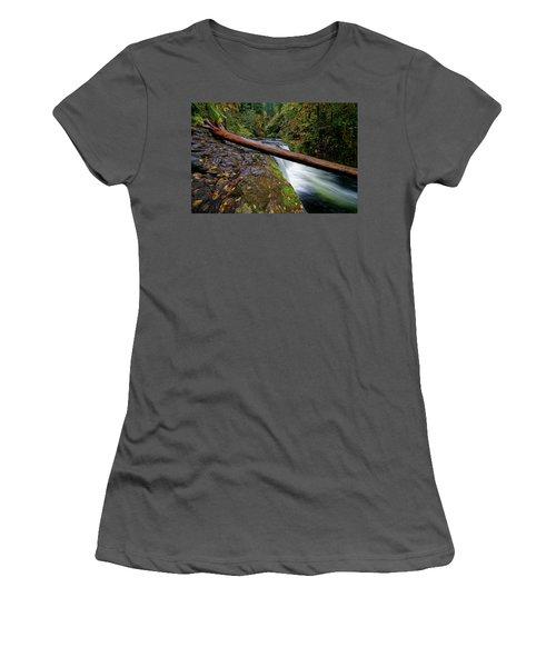 Women's T-Shirt (Junior Cut) featuring the photograph Lower Punch Bowl Falls by Jonathan Davison
