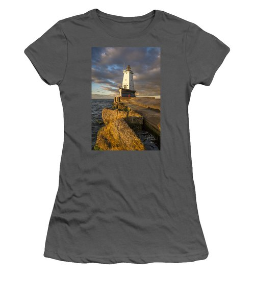 Women's T-Shirt (Junior Cut) featuring the photograph Ludington North Breakwater Lighthouse At Sunrise by Adam Romanowicz