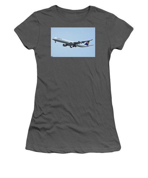 Women's T-Shirt (Junior Cut) featuring the photograph Lufthansa Airbus A340-600 D-aihw Los Angeles International Airport May 3 2016 by Brian Lockett