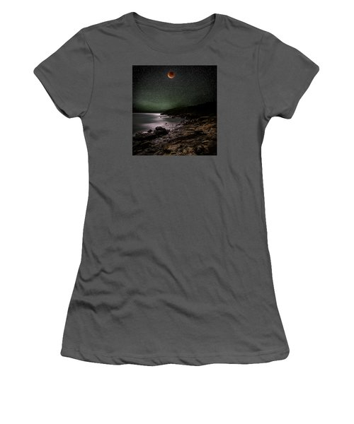 Lunar Eclipse Over Great Head Women's T-Shirt (Junior Cut) by Brent L Ander