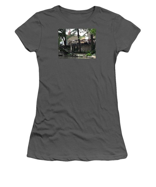 Women's T-Shirt (Junior Cut) featuring the digital art Lunch Above The River Walk by Kirt Tisdale