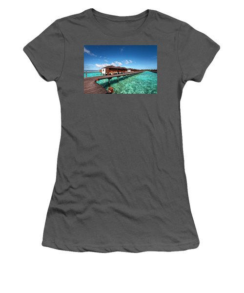 Women's T-Shirt (Athletic Fit) featuring the photograph Luxury Water Villas Of Maldivian Resort by Jenny Rainbow