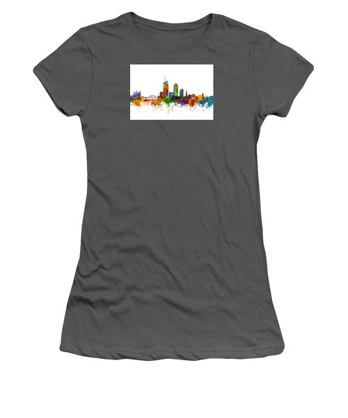Lyon Skyline Cityscape France Women's T-Shirt (Junior Cut) by Michael Tompsett
