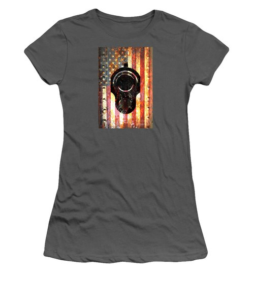 M1911 Colt 45 On Rusted American Flag Women's T-Shirt (Athletic Fit)