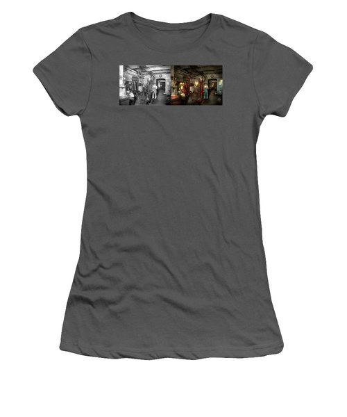 Women's T-Shirt (Junior Cut) featuring the photograph Machinist - Government Approved 1919 - Side By Side by Mike Savad