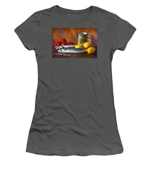 Mackerels, Lemons And Tomatoes Women's T-Shirt (Athletic Fit)