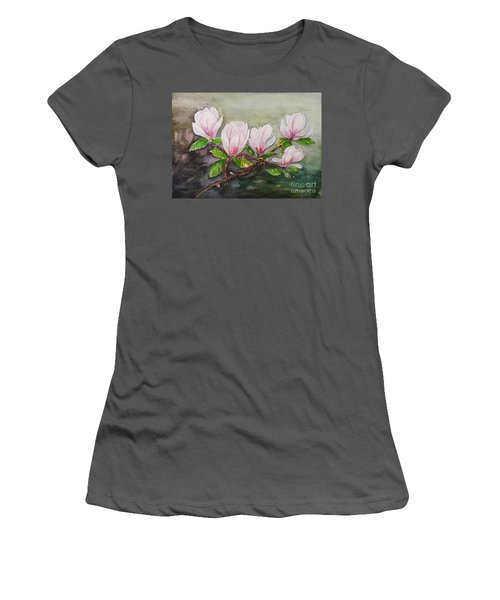 Magnolia Blossom - Painting Women's T-Shirt (Athletic Fit)