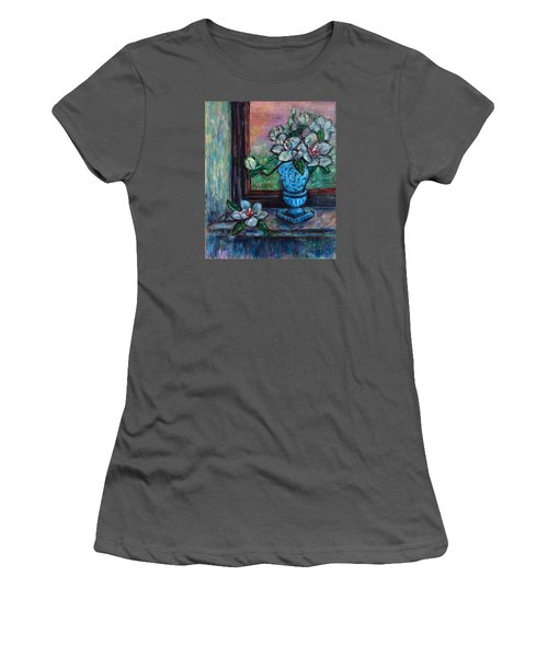 Women's T-Shirt (Athletic Fit) featuring the painting Magnolias In A Blue Vase By The Window by Xueling Zou