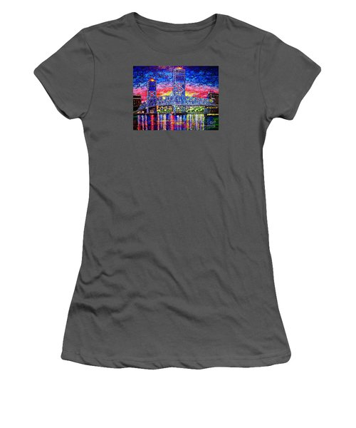 Women's T-Shirt (Junior Cut) featuring the painting Main St. Bridge by Viktor Lazarev