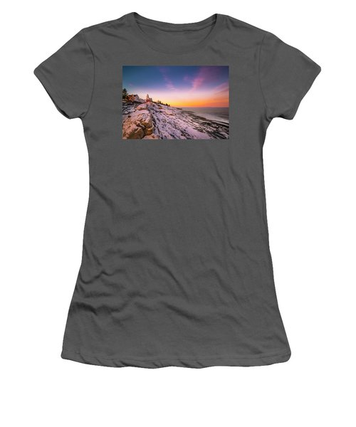 Women's T-Shirt (Junior Cut) featuring the photograph Maine Pemaquid Lighthouse In Winter Snow by Ranjay Mitra