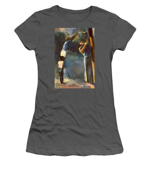 Women's T-Shirt (Junior Cut) featuring the painting Makin Basketball by Daun Soden-Greene